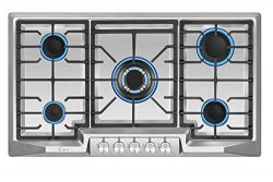 Empava 36XGC881 36 Inch Stainless Steel Gas Professional 5 Italy Sabaf Burners Stove Top Certifi ...