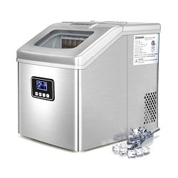 Euhomy Countertop Ice Maker Machine, 40Lbs/24H Portable Compact Ice Cube Maker with Ice Scoop An ...