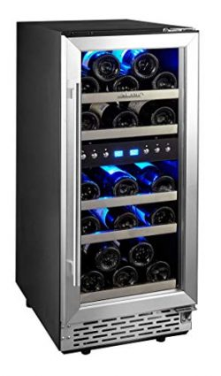 Phiestina 15 Inch Dual Zone Wine Cooler Refrigerator – 29 Bottle Built-in or Free-standing ...