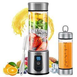 Portable Blender, Personal Smoothie Blender with USB Rechargeable, AHNR 15oz Small Blender Juice ...