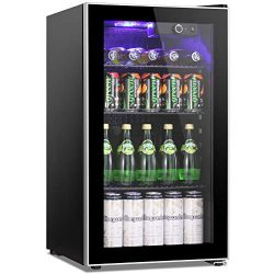 Joy Pebble Beverage Refrigerator and Cooler, 90 Can Mini Fridge with Glass Door for Soda Beer or ...
