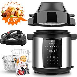 6.5Qt Pressure Cooker and Air Fryer Combos, 1500W Pressure, Steamer Cooker, Air Fryer All-in-One ...
