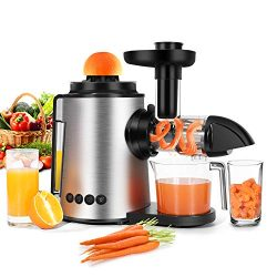 Masticating Juicer,Sagnart Juicer Machine(7-Segment Spiral 80RPM/Min) Antioxidant Cold-press Jui ...