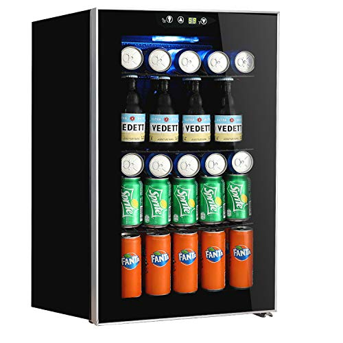 Beverage Refrigerator and Cooler, 85 Can or 60 Bottles Capacity with Glass Door for Soda Beer or ...