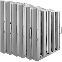 VBENLEM Set of 6 Restaurant Hood Filter 19.5 x 19.5 Inch 430 Stainless Steel Hood Filter with 4  ...