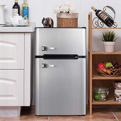 Bossin 3.2 CU. FT Compact Refrigerator 2 Door MIni Fridge Chiller and Freezer Compartment with R ...