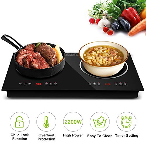 Topmin Cooktop944 Portable Cooktop Induction Cooker + Ceramic Furnace 2200W Electric Stove with  ...