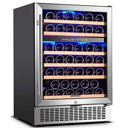 Wine Cooler Dual Zone, Aobosi 24 inch 51 Bottle Wine refrigerator Built-in or Freestanding with  ...