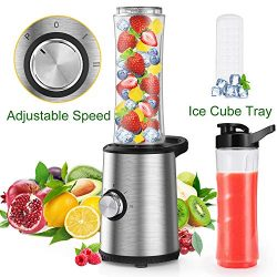 Personal Blender, Slaouwo Adjustable Speed Blender with 300W Base, 4 Stainless Blades, 20 Oz BPA ...