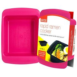Rapid Ramen Cooker – Microwave Ramen in 3 Minutes – BPA Free and Dishwasher Safe (Pink)