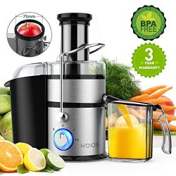 KOIOS Centrifugal Juicer Machines, Juice Extractor with Big Mouth 3″ Feed Chute, 304 Stain ...