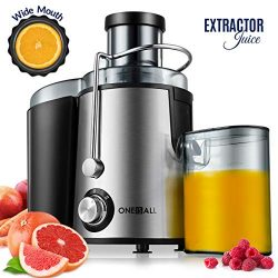 Juicer, Oneisall Juice Extractor with Anti-Drip Spout, Ultra Fast Extract Centrifugal Juicer for ...