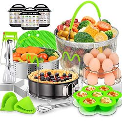 18 Pcs Instant Pot Accessories Set, EAGMAK 6, 8 Qt Pressure Cooker Accessories – 2 Steamer ...