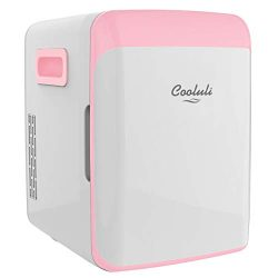 Cooluli Classic Pink 10 Liter Compact Portable Cooler Warmer Mini Fridge for Bedroom, Office, Do ...