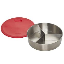 Instant Pot 5252078 Official Round Cook/Bake Pan with Lid & Removable Divider, 7-inch, Red