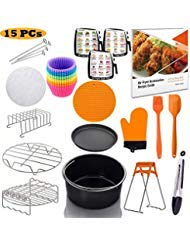 Jrickss Air Fryer Accessories 8 Inch 15 PCS FIT for 3.7/4.2/5.3/5.5/5.8 QT FDA Approved | BPA Fr ...