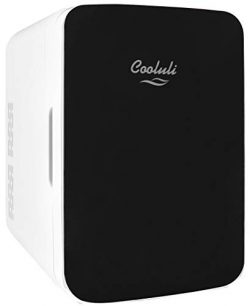 Cooluli Infinity Black 10 Liter Compact Portable Cooler Warmer Mini Fridge for Bedroom, Office,  ...