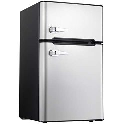 Tavata 3.2 Cu Compact Refrigerator Double Door Mini Fridge with Top Door Freezer,Small Drink Chi ...