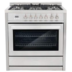 Cosmo COS-F965NF Commercial-Style 36 in. 3.8 cu. ft. Single Dual Fuel Range with 5 Burners and 8 ...