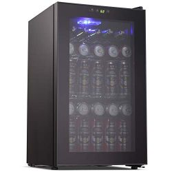 Joy Pebble Beverage Cooler and Refrigerator 85 Can Mini Fridge with Glass Door for Soda Beer or  ...