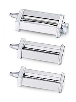3 Piece Pasta Roller Cutter Attachment Set Compatible with KitchenAid Stand Mixers, Included Pas ...