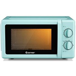 COSTWAY Retro Countertop Microwave Oven, 0.7 Cu. Ft, 700W Mechanical Compact Microwave Oven 6 Mi ...