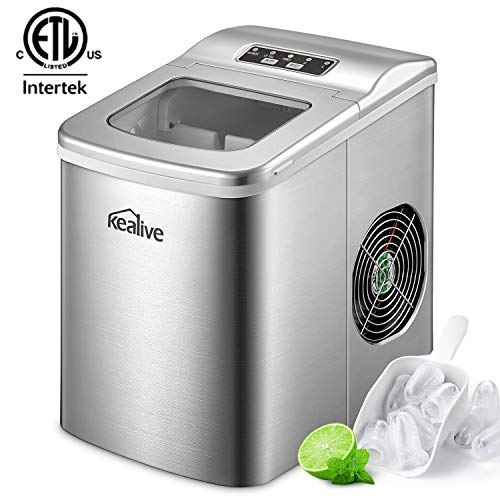 Portable Ice Maker Machine Kealive Stainless Steel Ice Maker 2L for Countertop, Make 26 lbs Ice  ...
