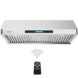 COSTWAY Under-Cabinet Range Hood, 36-Inch 900 CFM, 4 Speed Touch Screen Panel, Stainless Steel K ...