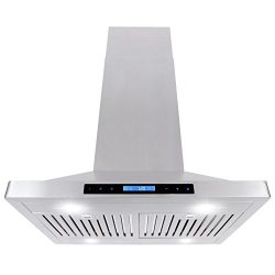 Cosmo COS-63ISS75 760 CFM Ducted Island Stainless Steel Range Hood with Touch Screen, Kitchen Ve ...