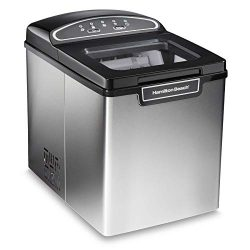 Hamilton Beach 86150 Countertop Ice Maker, Compact & Portable Design, Makes 28 Pounds Per Da ...