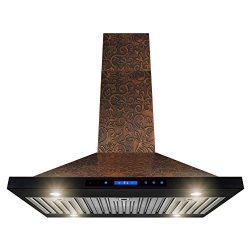 AKDY Island Mount Range Hood -36″ Embossed Copper Hood Fan for Kitchen – 4-Speed Pro ...