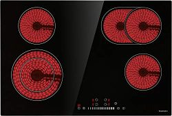 Electric Cooktop, ECOTOUCH Radiant Cooktop 4 Burner Smoothtop Electric Cooktop 30″ Built i ...