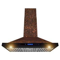 AKDY Wall Mount Range Hood – Embossed Copper Hood Fan for Kitchen – 4-Speed Professi ...