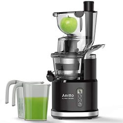 Cold Press Slow Juicer, Aeitto Portable Big Wide 81mm Chute LED Display Masticating Juicer for N ...