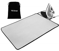 WISHOP Ironing Mat with Silicone Pad Heat Resistant Ironing Blanket, Thick Portable Travel Ironi ...