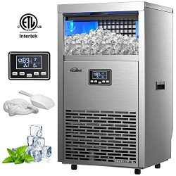 Kealive Commercial Ice Maker 99lbs in 24h with 33lbs Storage Capacity Freestanding Stainless Ste ...