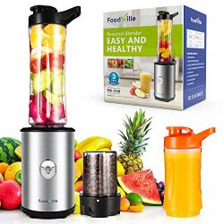 Foodville PB230 2 in 1 Personal Smoothie Blender and Electric Coffee Grinder with 20oz + 10oz Tr ...