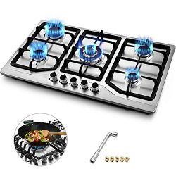 Happybuy 34×20 inches Built in Gas Cooktop 5 Burners Gas Stove Cooktop Stainless Steel Cook ...