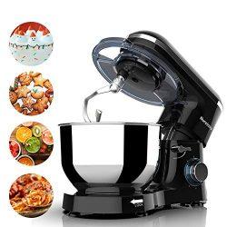 Nurxiovo Kitchen Mixer with 7QT Stainless Steel Bowl,Tilt-Head Food Standing Mixer 6-Speed 660Wa ...