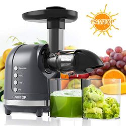 Juicer Machines,FAMTOP Slow Masticating Juicer Extractor, Quiet Motor & Reverse Function, Co ...