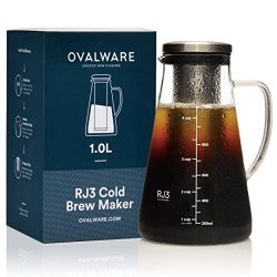 Airtight Cold Brew Iced Coffee Maker and Tea Infuser with Spout – 1.0L / 34oz Ovalware RJ3 ...