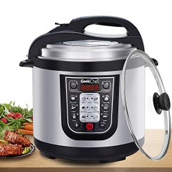 Geek Chef 6 Qt Multiuse Electric Pressure Cooker, Stainless Steel Inner Pot, 12 Presets Programm ...