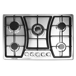 30 inches Gas Cooktop 5 Burners Gas Stove gas hob stovetop Stainless Steel Cooktop 5 Sealed Burn ...