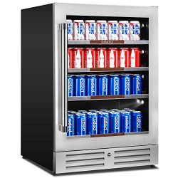 Sipmore 24 Inch Beverage Refrigerator and Cooler with Slide way Glass Shelf 154 Can Built in Fri ...