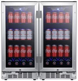 EdgeStar CBR902SGDUAL 30 Inch Wide 160 Can Built-in Side by Side Beverage Cooler with Blue LED L ...