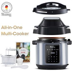MICHELANGELO 6.5 QT Pressure Cooker Air Fryer Combo, All-in-1 Pressure Fryer with Two Detachable ...