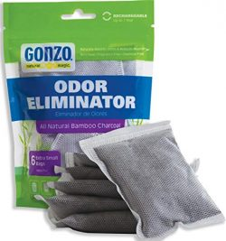 Gonzo Bamboo Charcoal – 6 Extra Small Bags 10g – Odor Eliminator Bags Natural Purify ...