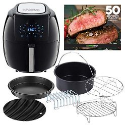 GoWISE USA GWAC22003 5.8-Quart Air Fryer with Accessories, 6 Pcs, and 8 Cooking Presets + 50 Rec ...