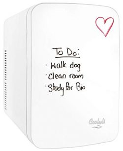 Cooluli Vibe White 15 Liter Compact Portable Cooler Warmer Dry Erase Whiteboard Mini Fridge for  ...