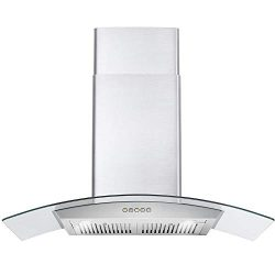 Cosmo 36 in. Wall Mount Pro-Style Range Hood | 760 CFM, 3 Speed Fan, Reusable Permanent Filters, ...
